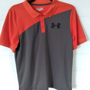Under Armour boys heat gear grey/ orange sport tee